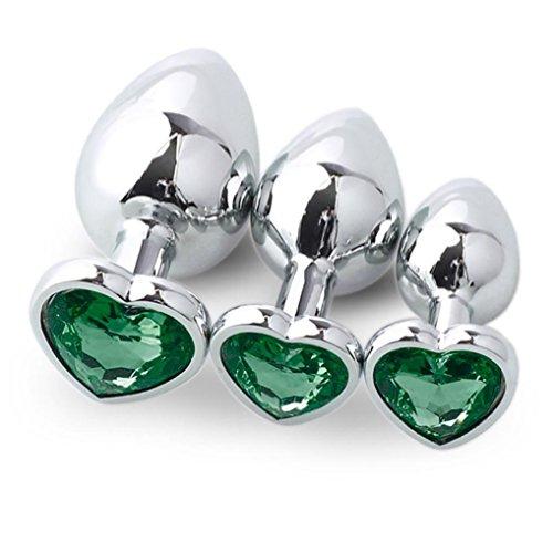 3 Stück Metall Anal Butt Plug Analplug Hook, Manadlian ButtPlug Männer mit Kristall Klein + Medium + Groß Set Fetisch Masturbation Sex Spielzeug Kristall Diamant Anfänger (Grün)