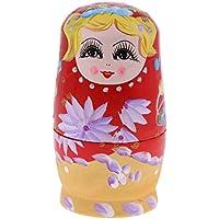 Sharplace 5 Piezas Muñecas Matrioska Rusas de Madera Pintadas a Mano Juguete Regalo Creativo para Niños