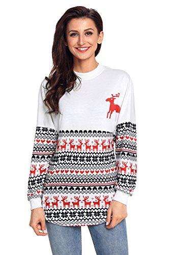 BaronHong Christmas Sweater Geist Jersey T-Shirt (Weiß, XL) Einfach Südlichen Baumwolle
