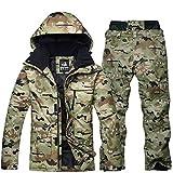 Qiyun Tute da Neve,Giacca da Sci Termica Maschile Impermeabile + Pantalone da Snowboard Outdoor Sci Snowboard Snow Suit M Camuffamento