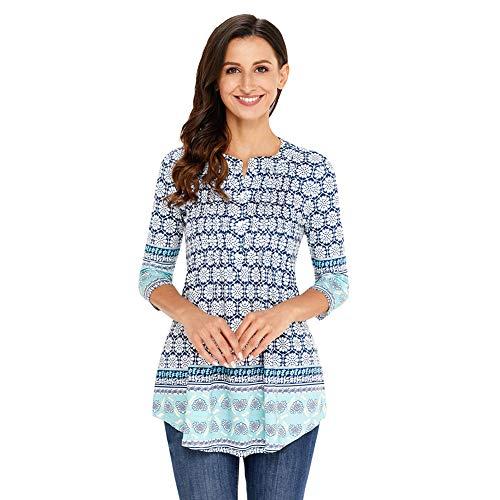 Damen Langarmshirt 3/4 Arm Bluse Vintage Blumenmuster Oberteile Rundhals Tops, Weißblau,  M