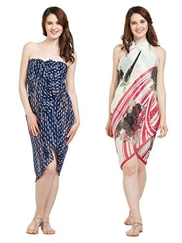 Womens Faux Georgette Beach Wear Wrap Set von 2 Sarong Abstrakte & Floral Printed Pareo Badeanzug Vertuschen (S115A_Navy Blau, Creme & Pink) Georgette-set