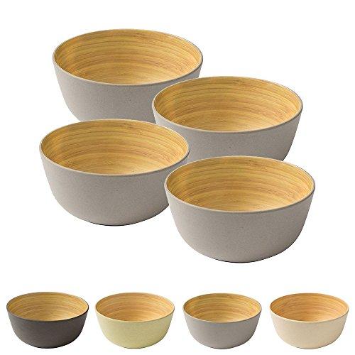 BIOZOYG 4 Pièces Premium Bambou Bol Gris Rond 450 ML de kaufdichgrün I Bambou Vaisselle Bol de céréales Fruits saladier en Bois Deco Bol Service Bol Camping Vaisselle