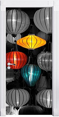 lanterne cinesi tradizionali nero / bianco murali, Formato: 200x90cm, stipite della porta, adesivi porta, decorazione porta, adesivi porta