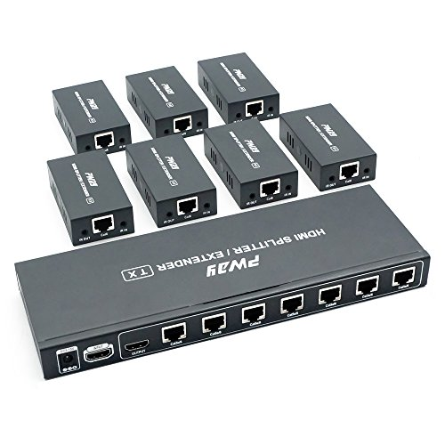 PW-HTS0107IR(POC) 1X7 Port HDMI Splitter Extender/Verteiler Ultra HD 1080P Ohne Verzögerung 60m über CAT6 Kable Unterstützt EDID and IR(1 In 7 Out) Ir Über Cat5