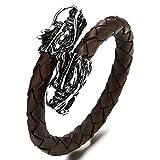 COOLSTEELANDBEYOND Edelstahl Drachen Elastische Verstellbare Braun Geflochtenes Leder Armband Armreif für Herren Wickeln Schweißband