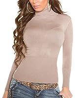 Damen Rollkragen Pullover, eleganter Pulli oder Sweater in vielen Farben, Einheitsgröße 32-38