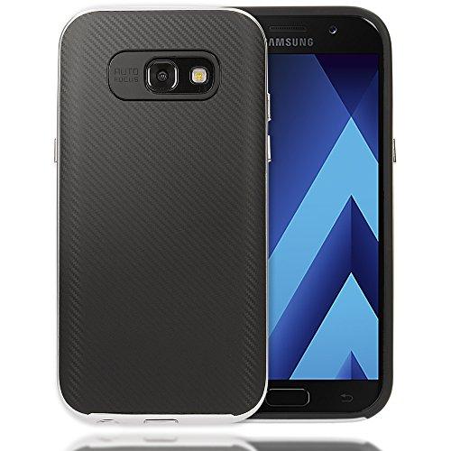 Hard Bumper Case Cover (Samsung Galaxy A3 2017 Carbon-Hülle Handyhülle von NICA, Ultra Slim Silikon Case mit Bumper, Dünne Schutzhülle mit Rahmen im Metall-Look, Handy-Tasche Back-Cover für Samsung A3 2017, Farbe:Silber)