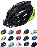 Meteor Casco Bici per Giovani e Adulti Donna e Uomo Caschi per Downhill Enduro Ciclismo MTB Helmet Ideale per Tutte Le Forme di attività in Bicicletta Marven (M(55-58cm), Nero/Verde)