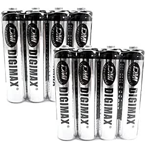 Digimax Industrial AAA Rechargeable Batteries 750 mAh x 8 -- 8 BATTERIES IN TOTAL !