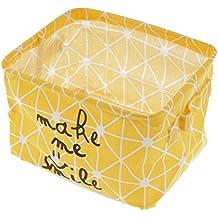 MagiDeal Cesta de Almacenamiento Plegable de Juguete Cubo de Lavandería Cuadro de Maquillaje Accesorio de Ama de Casa Gris/Amarillo - Amarillo