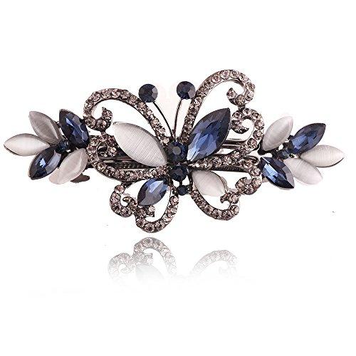 Strass Hair Clip, Auoker Vintage Crystal Butterfly Frühjahr Kehre Barrette für Frauen und Mädchen Hair Accessoires (Blue) -
