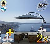 2 Stück PREMIUM XXL Ampelschirm 300 cm, 8-teilig, 8 Streben, schwarz-anthrazit, 3,00 x 3,00 m, robustes ca. 200 g/m² Polyester, Sonnenschirm inkl. Schirmtisch UV50+ KOMPLETT mit Standkreuz, Standfuß + ca. 50 mm Mast, Hängeschirm Sonnendach Überdach, Schirm Strandschirm, stabiler Gartenschirm, klappbarer Schirm - anthrazit-schwarz, Klappschirm mit weichem Stoffbezug-extrem wetterfest, tragbar, Strandschirm, hochwertig robust stabil, Sonnenschutz, stabiler Schirm Klappschirm