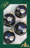 Dekohelden24 Lauschaer Christbaumschmuck - 4er Set Kugeln in Blau Matte mit Weihnachtsszene, 7 cm, mit goldenem Krönchen
