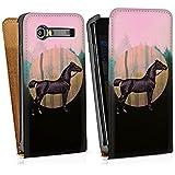 Samsung Galaxy S Advance i9070 Sacoche Housse de Protection Walletcase Bookstyle Cheval Faire du cheval Forêt