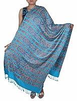 Mujeres de la manera de la bufanda de seda del mantón de lana verde-geométrica stole- largo 214 x 76 cm