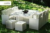 essella Polyrattan Essgruppe Vienna 6er in Weiß mit grauen Bezügen