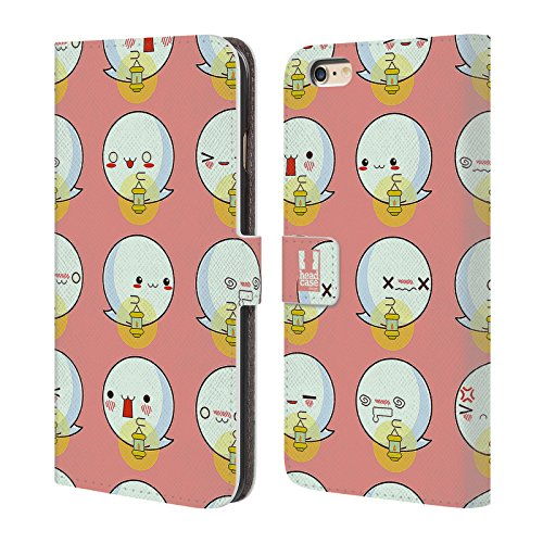 Head Case Designs Pipistrello Pattern Halloween Kawaii Cover a portafoglio in pelle per Apple iPhone 6 Plus / 6s Plus Fantasma Pattern