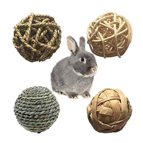 POPETPOP Kauspielzeug für Kaninchen-4 Pack Rennmaus Chew Toys Kleintier Activity Toy für Bunny Rabbits Meerschweinchen Rennmäuse Grass Toys -