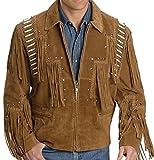 Classyak Western Cowboy Lederjacke für Herren, mit Fransen Gr. Large, Braun, Wildleder