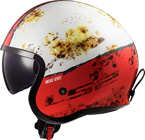 LS2 Motorradhelm OF599 SPITFIRE RUST Weiss Rot, Weiss/Rot, L