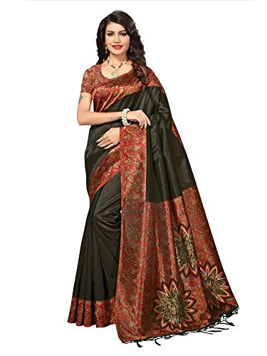 AKHILAM Women\'s Art Silk Saree with Unstitched Blouse Piece (Black_Free Size)