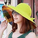 ERLINGSAN-MZ Sommer Sonnenbrille Hut Hut Hitze Mütze Strand Mütze Gelb