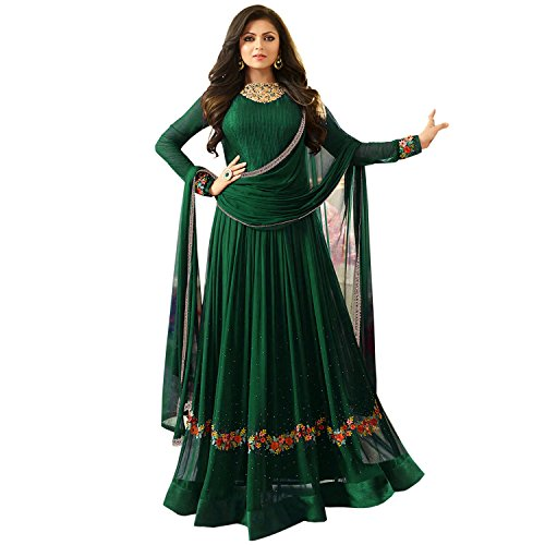 Bipolar Life Women's Special Party Wear Green Color Faux Georgette Embroidery and...
