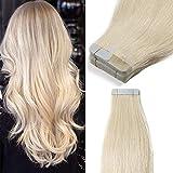 TESS Tape Extensions Echthaar Klebeband günstig Haarverlängerung 12 Inch 20pcs Glatt Remy Tape in Hair Extensions für Haarverdichtung Weißblond (#60 30cm-50g)