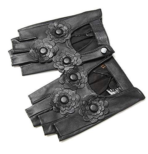 QETY Frauen Half Finger Lederhandschuhe, Schwarz Dünnschnitt Floral Radfahren Fahren Warme Slim Fit Handschuhe Für Halloween Kostüm ()