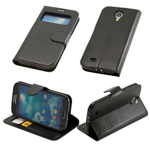 plt24 N02- Schwarz S-View Handytasche für Samsung Galaxy S4 i9500 i9505 mit Sichtfernster Schutzhülle Hülle Schutzschale Schale Bumper Flip Tasche Etui Case