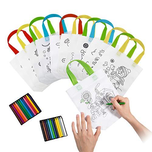 Comius Lot von 12 Non-Woven-Tasche Zum Selber bemalen. Enthält Farbige Wachse Ideal für Geburtstagsfeier Geschenke, Kommunionen (B) (Halloween Taschen Für Die Schule)
