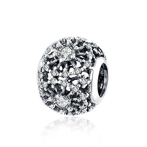 nykkola Vintage 925Sterling Silver Bead Éléments Swarovski Crystal Charms Beads Fit Pandora Bracelet