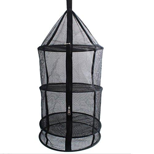 4 Schichten Windundurchlässige Folding Hanging Netz Trockner Net Gemüse Fischgerichte Trockenrack Outdoor-camping-multi-funktions-speicher-korb (Schwarz)