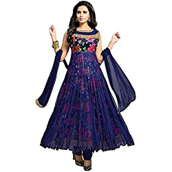 Devani Brothers Women's Net and Satin Flower Print Anarkali Dress Material (Blue Free Size)