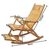Salon De Bambou Chaise De Jardin Adulte Chaise Berçante Chaise Pliante Réglable Vieux Balcon Chaise De Pause Déjeuner avec Accoudoirs Et Repose-Pieds De Massage * (Taille : with Cushion)