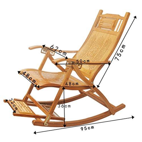 Srjh Bambus-Lounge-Stuhl Garten Erwachsener Schaukelstuhl Klappstuhl Verstellbarer Alter Balkon Mittagspause Stuhl Mit Armlehnen Und Massage-Fußhocker A++ (Size : with Cushion)