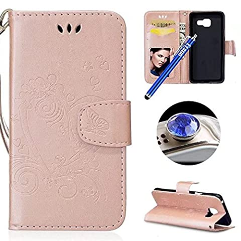 Etsue Samsung Galaxy A3 2016 Leather Case, Samsung Galaxy A3 2016 Wallet Case, Cute Flower Butterfly Love Heart Pattern Flip Leather Wallet Case Cover Retro Strap Lanyard Design Bookstyle Card Slots Flip Protective Magnetic Cover for Samsung Galaxy A3 2016+Blue Stylus Pen+Bling Glitter Diamond Dust Plug(Colors Random)-Love Heart,Rose Gold