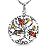 Bernsteinschmuck Lebensbaum Weltenbaum Anhänger 925er Silber Bernstein Schmuck Amulett Medaillon #b1347
