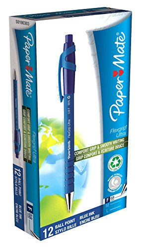 paper-mate-flexgrip-ultra-retractable-ballpoint-pens-fine-point-pack-of-12-blue-ink