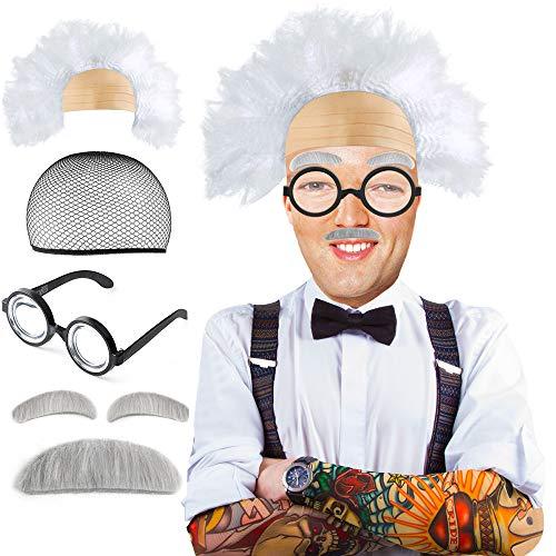 Beelittle Old Man Mad Wissenschaftler Perückenset Albert Einstien Opa Kostüm - Perücke, Augenbrauen, Schnurrbart, Brilke Kappe Brille Brillen Ketten Armband Perlenkette - 5 Stück (B)