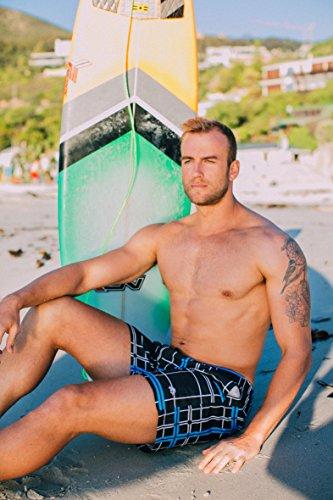 GUGGEN MOUNTAIN Herren Badeshorts Beachshorts Boardshorts Badehose Palmen Beach *High Quality Print* Blau