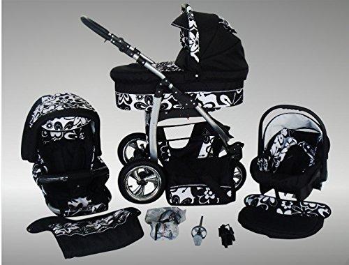Chilly Kids Dino Kinderwagen Sommer-Set (Sonnenschirm, Autositz & Adapter, Regenschutz, Moskitonetz, Getränkehalter, Schwenkräder) 05 Schwarz & Weiß Blumen
