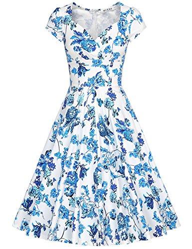 MUXXN Vestiti Donna Anni 50 Vintage Vestiti Donna Eleganti Da Cerimonia QingHua Bright Blue
