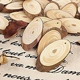 25PCS 5CM Wooden Wood Log Slices Discs Natural Tree Bark Table Decorative Wedding Centerpieces - Oval Shape
