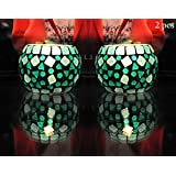 Mosaic Glass Turquoise Color Votive Tealight Candle Holders Decor Set Of 2 Pcs 3 Inch