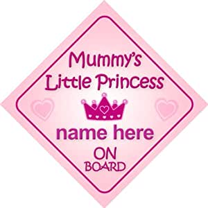 Mummy's Little Princess On Board Personalised Car Sign New Baby Girl / Child Gift / Present