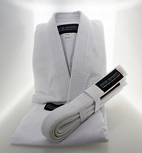 Mmasport bjj kimono jiu jitsu 100% cotone 390 gr colore bianco kimono bjj basic (a2 (160-170 cm))