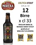 12 X Birra Morena Celtica Stout 6,8 % alc vol CL 33 Miglior Birra al Mondo Sweet Stout aroma caramello vaniglia cioccolato Artigianale Craft Beer Italiana Premiata Regalo Eventi Natale Pasqua