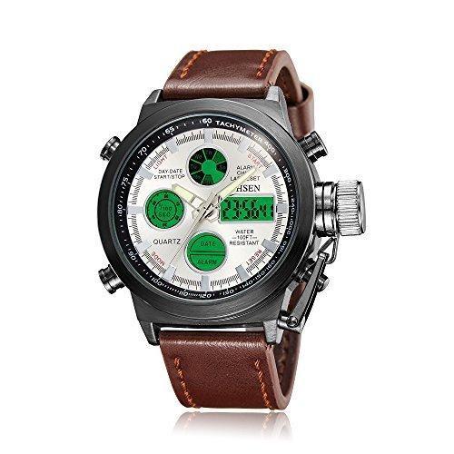 OHSEN Sportuhren Herren Analog Digital Uhren Sport Dual Time Alarm Chronograph Echtes Leder Band Armbanduhr Weiß